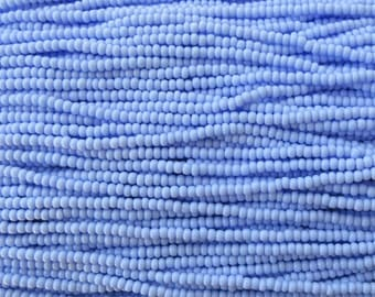 8/0 Opaque Light Blue Czech Glass Seed Bead Strand (CW81)