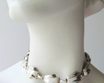 silver tone link necklace art deco style choker modernist jewelry