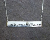 Custom Mountain Range Bar Necklace - Sterling Silver and 14k Yellow Gold