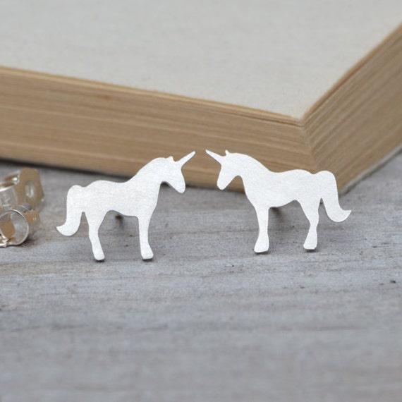 unicorn earring studs, fairytale earring studs in sterling silver