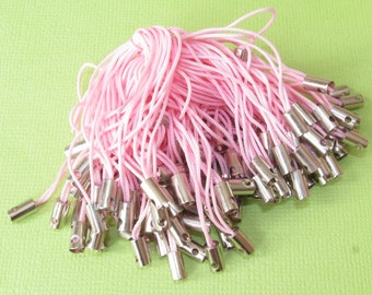 100 Cell Phone Straps or Cords Pink and Silver 50mm