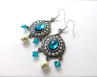 Bold Turquoise Jewel Pendant Earrings, Metal and Rhinestone Statement Earrings, Ivory Pearl Crystal Accents, Surgical Steel Hypoallergenic