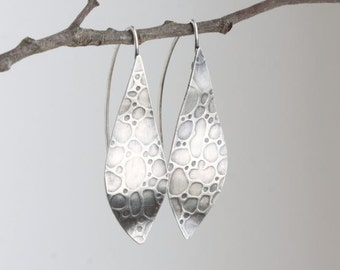 Sterling Silver Earrings with Animal Printed Designs Organic shaped Handmade