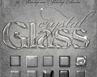 Photoshop Layer Styles - Designer Gems - CRYSTAL GLASS - 1 Photoshop Style file (.ASL) containing 10 unique Styles to add to your Text.