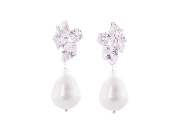 Bridal Earrings , Crystal Earrings , Pearl Wedding Earrings , Wedding Freshwater Pearl Earrings , CZ Earrings , Wedding Jewelry