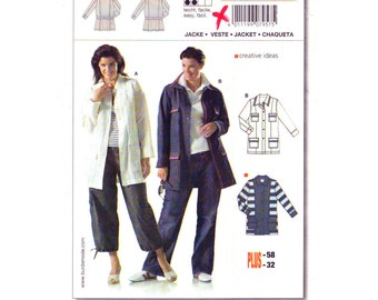 Jacket Sewing Pattern Burda 7957 Plus Size 18 to 32 Womens Jacket Patch Pockets Flaps Casual Button Front Coat UNCUT