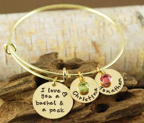 Personalized Bangle Bracelet, I love you a bushel and a peck Jewelry - Gold Bangle Charm Bracelet - Name Bracelet