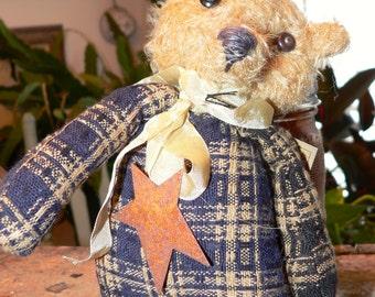 Primitive Tiny Mohair / Tapestry Teddy Bear, Home Decor, Teddy Bear, Mohair, Bear, Teddy, Primitive Decor, Primitive Bear, Prims,   HAFAIR