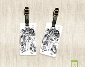 Personalized Luggage Tags Alice Luggage Tag Set Personalized Alice Adventures in Wonderland Luggage Tags - Full Metal Tags