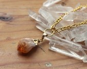 Gold Dipped Citrine Crystal Necklace - Raw Chunky Natural Genuine Quartz Crystals Large Rough Pastel Orange Yellow with Gold Plated Chain
