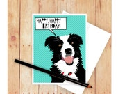 Border Collie Birthday Card, Happy Father's Day Card,  Congratulations Card, Dog Greeting Card, Border Collie Art, Cute Birthday Card