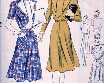 1940s VOGUE Pattern 8698 - CHARMING One Piece Dress and Cropped Bolero  - Size 14 * Bust 32