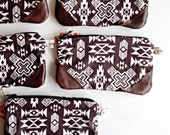 Southwestern clutch, fabric and leather in a deep rich brown
