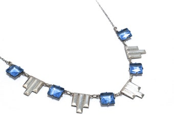 Art Deco Blue Crystal Sterling Silver Necklace