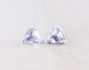 Pyramid Pink Amethyst Quartz Studs - Silver Filled