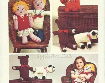 1970s Crochet Pattern Dolls Stuffed Bear Tiger Lamb Crochet Fashions 1973 Simplicity 6008 One Size UNCUT