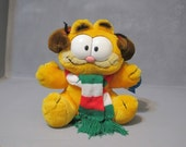 Vintage Garfield with Pooky Earmuffs Cat Plush Toy Rare / Kitty Stuffed Animal Garfield Wearing Ear Muffs Children Room Decor Meow Cat Lover