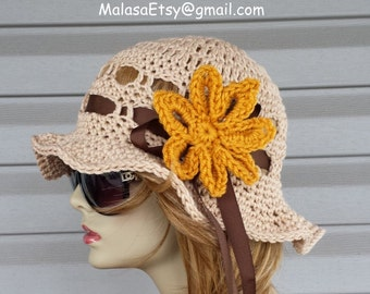 Summer Cloche Hat crochet knit Vintage look, Sun Hat Floppy Beach Sun Hat Visor, The Perfect GIFT available 22 colors, Summer Hat by Malasa