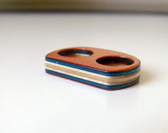 Skateboard Knuckle Ring-Recycled Skateboard Orange 2 Finger Ring Handmade-Size 6 & 7 Orange/ Navy Blue Knuckles