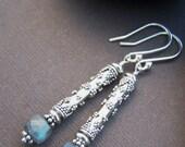 Brooklyn Sterling Silver Earrings - Labradorite Cube with Sterling Silver Earrings