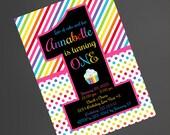 Rainbow Colorful 1st Birthday Invitation, Rainbow Birthday Invitation, 1st Birthday Invite, 118