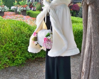 Sleeping Beauty Ivory / Ivory Satin 27 inch Bridal Cape with Fur Trim Wedding Cloak Handmade in USA