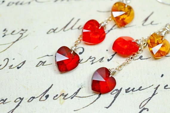 Red and Orange Crystal Heart Earrings, Garnet and Topaz Swarovski Crystals, Autumn Shades Sterling Silver Wire Wrapped Dangle Earrings
