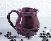 Ceramic Coffee mug, Colorful BlueRoomPottery Round belly pottery tea cup Eggplant Purple, handmade Kitchen gift
