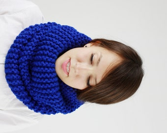 Chunky Cowl Scarf, Chunky Knit Snood, Womens Cowl Snood, Royal Blue