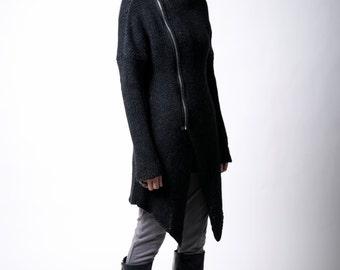 Black Sweater Coat / Zipper Cardigan / Long Jumper / Asymmetric Cardigan / marcellamoda k - MC111