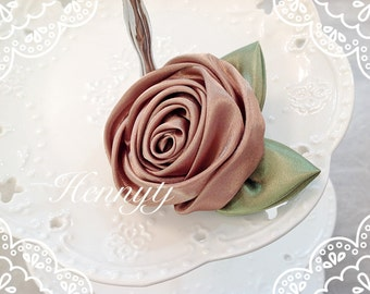 Set of 3 -  50mm Beautiful Rolled Satin Rose Rosettes with Forest Green Satin Leaves attached - TOFFEE BROWN Fabric flowers