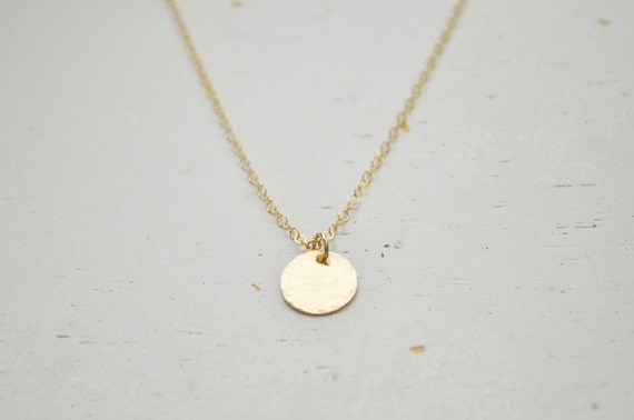 Small gold disc necklace hammered gold filled round charm like this item aloadofball Gallery