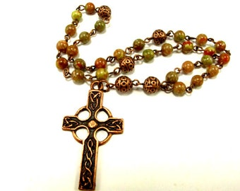 Anglican Prayer Beads in Autumn Jasper with Antique Copper Celtic Cross