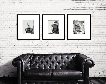 Black and white art, Nashville prints, set of 3 photos, Nashville signs, wall art photos, gallery wall art Nashville TN country music decor