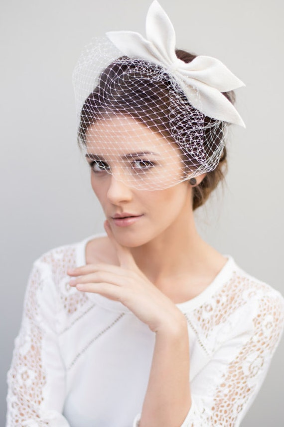 Birdcage Veil Bridal Fascinator Wedding Bow By MaggieMowbrayHats