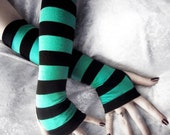 Rain's Embrace Arm Warmers | Teal & Black Stripes | Bohemian Yoga Gloves Belly Dance Fusion Bellydance Classic Cycling Gaia Emo Romantic