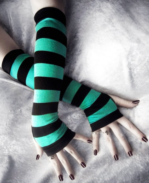 Rain's Embrace Arm Warmers | Teal & Black Stripes | Bohemian Yoga Gloves Belly Dance Fusion Bellydance Classic Cycling Gaia Emo Romantic