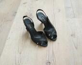 Vintage black heels. suede leather curvy sandals