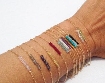 Dainty Bracelet, Beaded Bracelet, Gold Birthstone Bracelet, Minimal Bracelet, Bead Bar Bracelet, Gemstone Bracelet, Thin Gold Bracelet