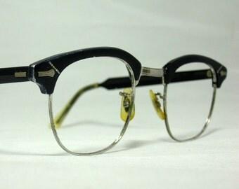 Vintage EyeGlasses Mens Browline Shuron Frames.