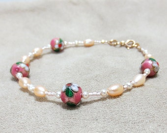 Pink Pearl Bracelet, 14K Gold Filled Clasp, Cloisonne Beads, Champagne Pearls, Pink and Green Large Pearl Bracelet, Small Anklet