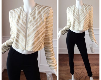 Vintage 1980s Karen Lawrence by Matthew White and Gold Bolero with Shoulder Pads