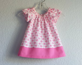 Baby Girl Pink Easter Dress - Pink Flutter Sleeve Dress and Bloomers - Pink and White Floral Easter Dress - Size Nb, 3m, 6m, 9m,12m or 18m