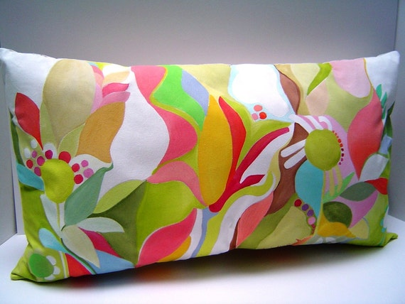 Spring Pastels Hand Painted Pillow  Colorful Abstract  Floral Shapes 13X24  Home Decor Art Pillow