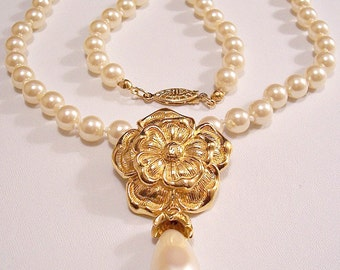 Flower Glass Pearl Pendant Necklace Gold Tone Vintage Avon Teardrop Dangle Large Round 20 Inch Bead Strand Filigree Oval Slide In Clasp