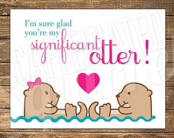 Swimming Significant Otter Valentine Card, Happy, Love, Heart, Boy, Girl