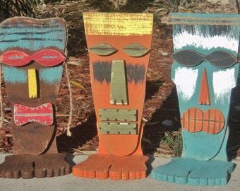 Tiki Mask With Feet, Table Top Tiki Sign, Tiki Man, Wood Sculpture, Tiki Bar, Rustic Beach House