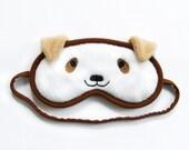 Dog Sleep Mask, Animal eye mask, Kawaii puppy sleeping eyemask, Cosplay costume, Cute gift for her, Cotton or silk satin back, Gift under 20