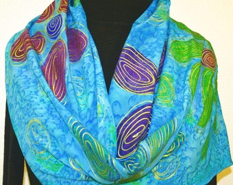 Silk Scarf Handpainted. Turquoise Hand Painted Shawl. Handmade Silk Wrap EXOTIC DAISIES. Size 11x60. Birthday Gift Mother's Day