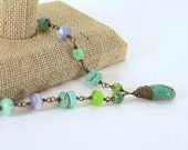 Turquoise Pendant Briolette, Brass Wrapped, Purple, Green, Aqua, Beaded, Necklace, Wedding, Gift, Summer